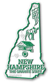 New Hampshire State Map by Hampshire Giant State Map Magnet