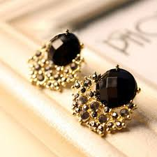 stud earrings online fashion vintage black gem stud earring online shopping