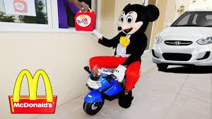 frozen power wheels mickey mouse mcdonalds drive thru prank w frozen elsa hulk