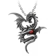 aethera draconem gothic dragon necklace with burgundy pearl