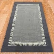 grey solid border rug carpet runners uk