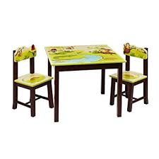 guidecraft childrens table and chairs amazon com guidecraft hand painted jungle party table chairs set