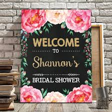 Bridal Shower Decor by Floral Bridal Shower Welcome Sign Pink Gold Chalkboard