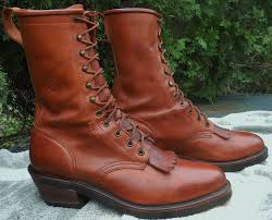 mens ariat brown leather packer lacer boots western rodeo cowboy
