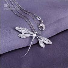 wholesale silver necklace pendants images Fashion jewelry 925 silver dragonfly pendant necklace top quality jpg