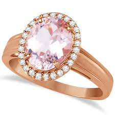 pink morganite diamond and oval pink morganite ring in 14k gold 2 43ct allurez