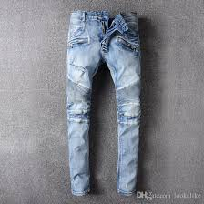 light stone washed mens jeans 2018 high quality light blue skinny ripped jeans men stone washed