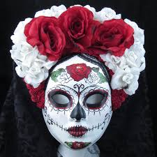 right red mask for day of the dead dia de los muertos costume