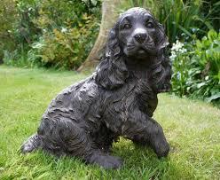 black resin cocker spaniel statue figurine garden sculptures