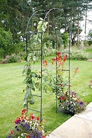 Climbing Plant Supports - garden mile large 2 4m black metal garden arch heavy duty strong