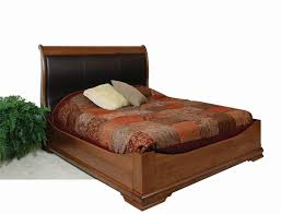 King Size Leather Sleigh Bed Williamsburg Sleigh Bed With Curved Leather Headboard