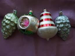 vintage blown glass christmas tree ornaments aqua pine cone triple