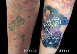 aries zodiac space constellation color rework on forearm by nicole