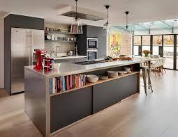 cuisine blanche moderne cuisine industrielle moderne lumières en acier de cadre noir