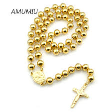 2015 men s jewelry 8mm 60cm new arrival power necklaces amumiu 8mm 60cm men rosary necklace stainless steel black