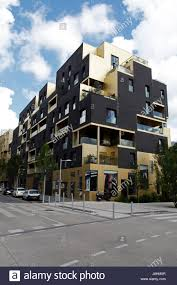 modern apartment buildings in the quartier du trapeze stock photo