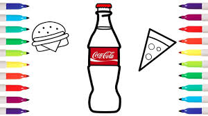 how to draw coca cola burger and pizza coloring pages kid