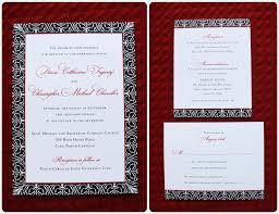 Red And Black Wedding Invitations Red Black U0026 White Scrollwork Pattern Bordered Wedding Invitations