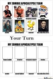 My Zombie Apocalypse Team Meme Creator - my zombie apocalypse team by aeris meme center