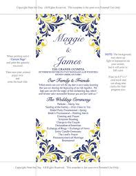 Wedding Program Dimensions Diy Wedding Program Template Navy Blue Yellow