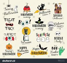 happy halloween hand drawn illustrations elements stock vector