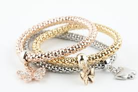 butterfly bracelet charms images 3 piece gold silver rose gold womens butterfly charm bracelet JPG