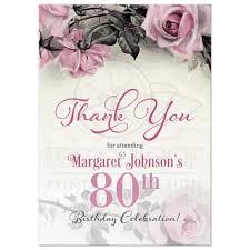 birthday thank you card 80th birthday thank you card vintage pink grey