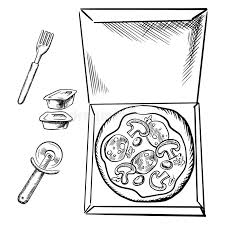 pizza box sauce cups fork and cutter sketch stock vector image