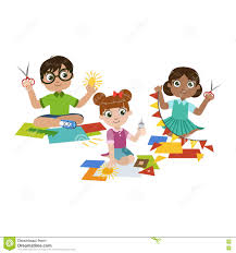 kids doing the paper craft stock vector image 72197852