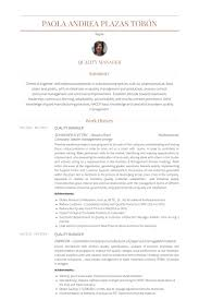 Business Management Resume Sample by Quality Manager Resume Samples Visualcv Resume Samples Database