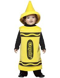 yellow crayon costume fits babies 18 24 months tunic hat