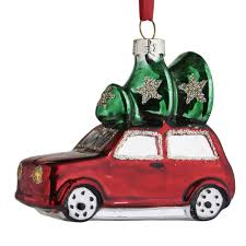 wilko nordic country glass car and tree christmas decoration at