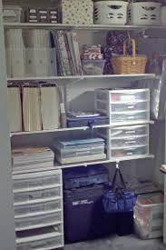 elfa shelving container store in craft closet for scrapbooking