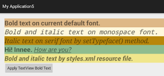 android default font how to display bold text in a textview in android
