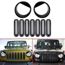 jeep wrangler front grill combo matte black front grill mesh grille insert bezel headlight