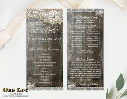rustic lace wedding program double sided digital printable