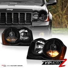 stock jeep headlights 2008 2010 jeep grand cherokee wk factory hid d1s xenon black