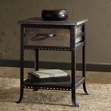 reclaimed wood finished steampunk style accent night end table
