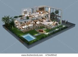 villa plan 3d illustration isometric villa plan stock illustration 473426542