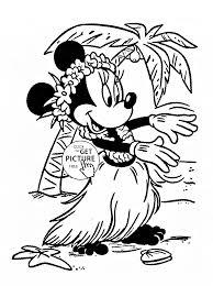 minnie hawaii coloring kids disney girls coloring