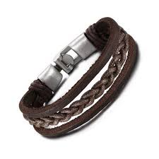 leather bracelet with buckle images Vintage braided leather bracelet with bronze alloy buckle hippie jpg