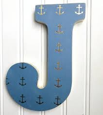 Living Room Decor Etsy Blue Nautical Letter Gold Anchor Wall Letter Wood Letter Letter
