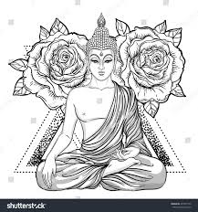 sitting buddha over ornate rose flower stock vector 491097172