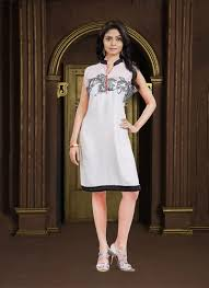 fancy fabric off white embroidered work party wear kurti