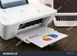 Laptop And Printer Desk by Printer Laptop On Wood Table Stock Photo 206045578 Shutterstock