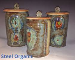 pottery kitchen canister sets ceramic kitchen etsy