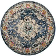 light blue round area rug shop safavieh monaco mahal navy light blue round indoor distressed