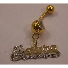 Personalized Name Ring Nikfine 14k Gp Belly Button Name Ring Personalized Name Plate