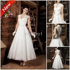 retro wedding dresses discount retro ankle length ivory appliques a line 2014 new