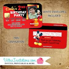 mickey mouse credit card invitations birthday party invites